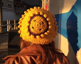 Sunshine Beret Crochet Hat Yellow