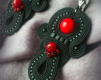 "Soutache and coral ear-rings ""Red and Black""."