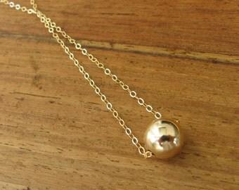Gold ball necklace, ball necklace, bead necklace, minimalist necklace, gold filled ball necklace, dot necklace, bridesmaid necklace