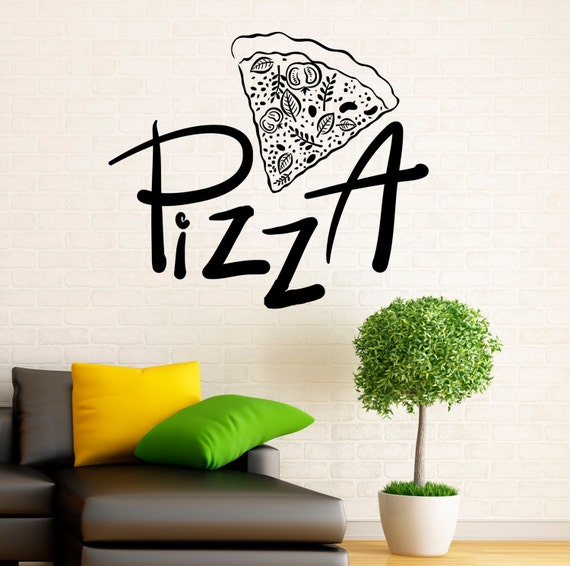 Pizzeria wall decal vinyl stickers pizza restaurant interior for Cafe wall mural