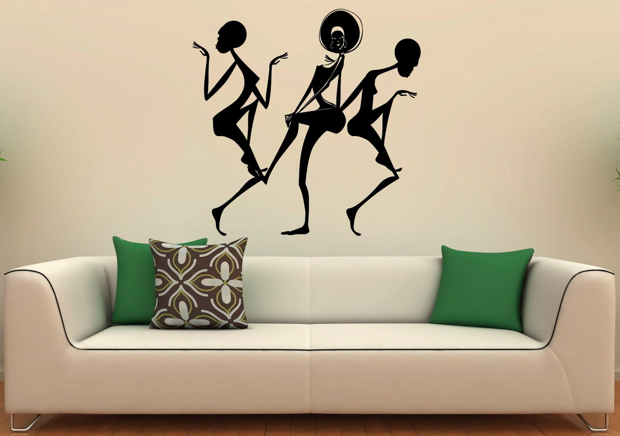 Africa african dancing girl wall decal vinyl stickers african for African wall decoration