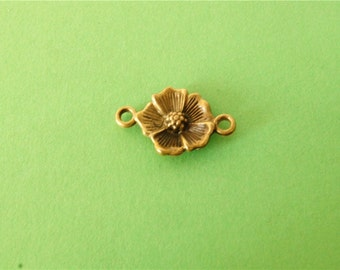 10 pcs of Antique Bronze  Flower Charms 25mm x 16mm
