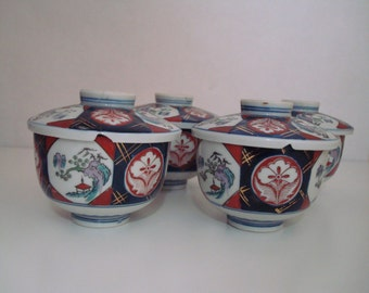 Japanese Imari Bowls With Lids - Set of 4 (See Description and Pictures)