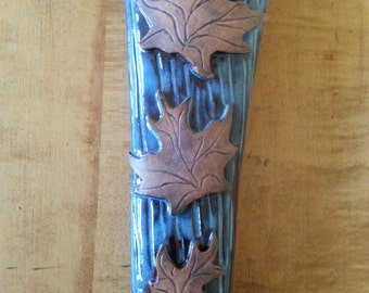 Handmade Stoneware Wall Pocket with Maple Leaves, Floating Blue Glaze