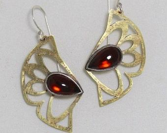 Garnet and Brass Wing Earrings