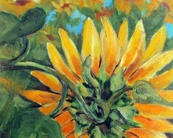 Sunflower II, flowers, original art, 8 x 10, oil painting, floral