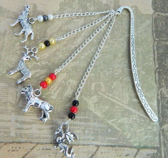 Game Of Thrones Bookmark Inspired By House Sigils, A Song Of Ice And Fire, Game Of Thrones Gifts, Metal Bookmark, Westeros, GRRM