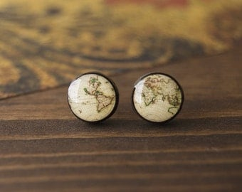 Cartography earrings, world map, vintage, old map, antique, stud earrings