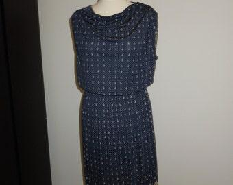 Vintage blue patterned dress size 10