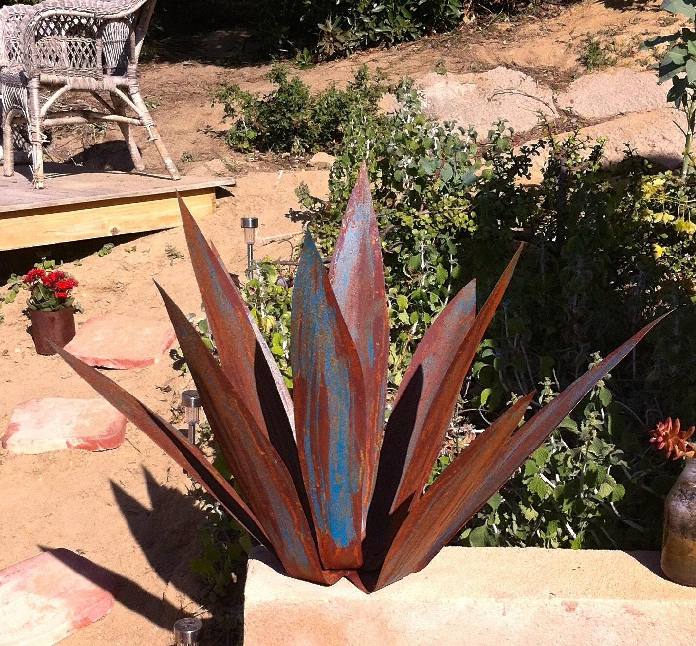 Rusty Blue Tequila Agave Metal Yard Art Metal Garden