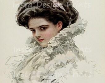 Harrison Fisher Vintage 1909 Victorian Beauty Portrait Pose Digital Download Printable Art Commercial Use Scrapbooking