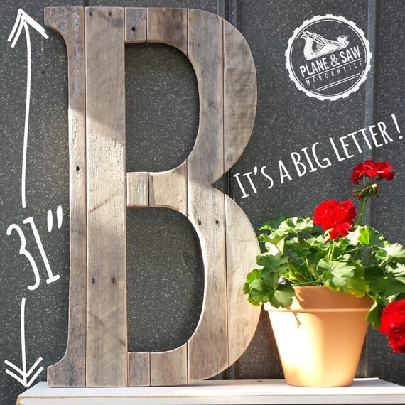 Rustic letter b big wooden letter reclaimed wood by for Big wooden letter b