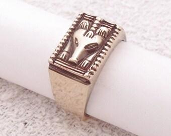 Slavic bear. Bronze signet ring. Bear ring.