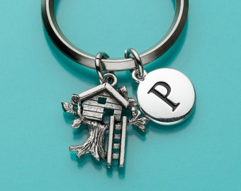 Treehouse Keychain, Treehouse Key Ring, Initial Keychain, Personalized Keychain, Custom Keychain, Charm Keychain, 364