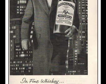 "Vintage Print Ad May 1962 : Fleischmann's Blended Whiskey Liquor Wall Art Decor 5.5"" x 11"" Advertisement"
