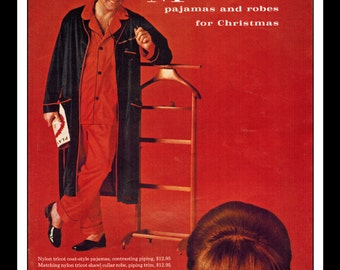 "Vintage Print Ad December 1964 : Munsingwear Pajamas Robes Wall Art Decor 8.5"" x 11"" Print Advertisement"