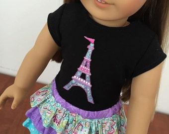 Fits American Girl Doll. 18 inch doll clothes. Black Shirt, Eiffel Tower