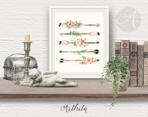 Printable wall Art Instant Download Romantic Flower ARROWS art print arrows watercolor artwork Home, teen room office decor. Artheta designs