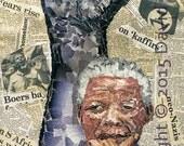 Amandla Mandela. - Limited Edition signed Fine Art Giclée Print. portrait, torn paper collage, contemporary fine art print.