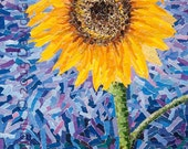 Sunflower - Fine Art Giclée print. Yellow, flower, botanical, blue background, floral home decor.