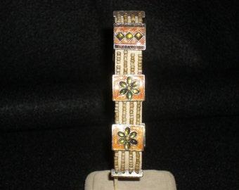 Vintage Stretch Bracelet with Painted Enamel & Rhinestone Spacers
