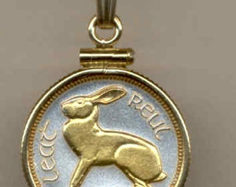 """Necklace - Gorgeous 2-Toned """"Gold on Silver"""" Irish """"Rabbit"""", Coin Necklaces"""