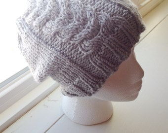 Cable knit slouchy hat, women's slouchy knit hat, women's cable knit hat, teen knit hat, classic knit hat