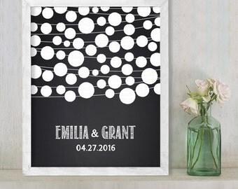 Wedding Guest Book Alternative Poster DIY / Chalkboard Lantern String Lights Guestbook Wedding Sign ▷ Printable File {or} Printed & Shipped