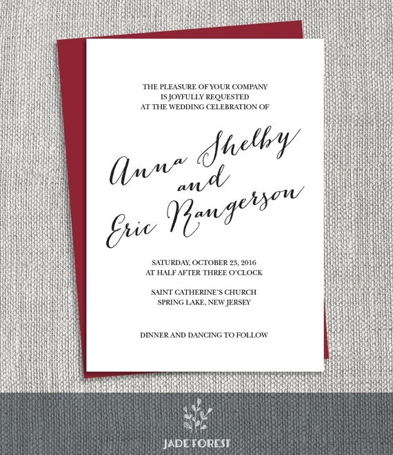 Calligraphy wedding invitation diy choose your color or