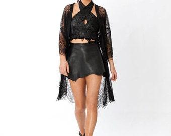 Black Lace Kimono with Silk Binding