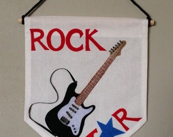 Electric Guitar Wall Hanging, Guitar Banner, Christmas Gift, Wall Decor, Music, Musical Instrument, Rock Star, Musician, String Instrument