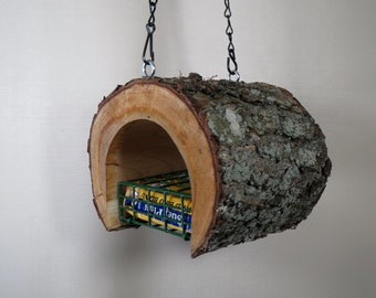 Bird Feeder - The Original Natural Log Suet Feeder - Wild Cherry - Upcycled from fallen trees - Hand Made - Gift - Housewarming Gift