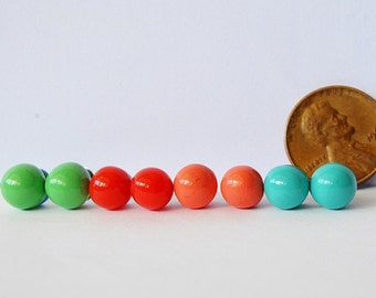 FREESHIPPING,tiny ball studs,apple green ball stud earrings,turquoise ball studs,red ball studs,Salmon pink studs,pink studs,bubble studs
