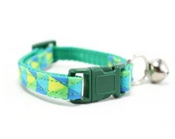 Green Cat Collar Safety Breakaway Yellow Blue Modern Kaleidoscope Triangle Geometric Cat Collar with Bell - Morgan