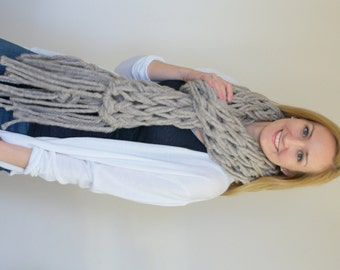 Chunky Knit Scarf, Arm Knitted Scarf, Fringe Scarf, Oatmeal Scarf, Fall Accessories, Winter Accessories,