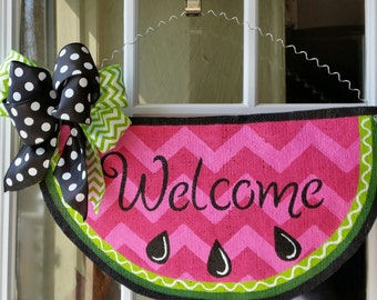 Sweet summer watermelon door hanger, Welcome sign, Hand painted burlap door hanger, pink chevron and lime green accents, polka dot satin bow