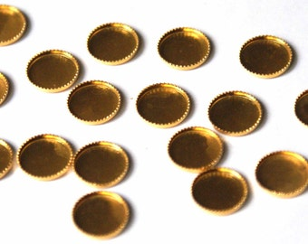 Gold filled brass round 8 mm  cabochon settings