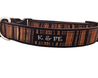 Modern Stripe with Pizazz Buckle Dog Collar