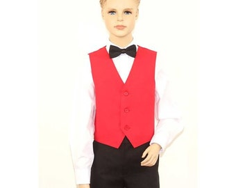 Kids Red Full Back Dress Vest