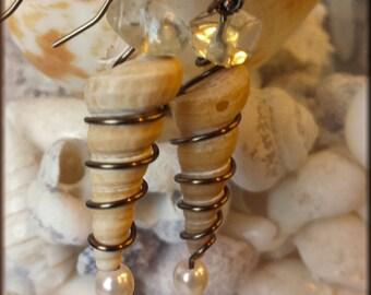Spirale Conchiglia Orecchini (Spiral Seashell Earrings)