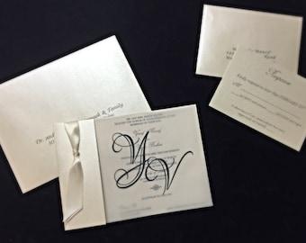 Contemporary Metallic And Vellum Wedding Invitation