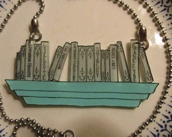 Book Necklace: Brontë Sisters [Book Jewelry Pendant Literature Statement Author Library Librarian Bookstore Books Emily Charlotte Anne]