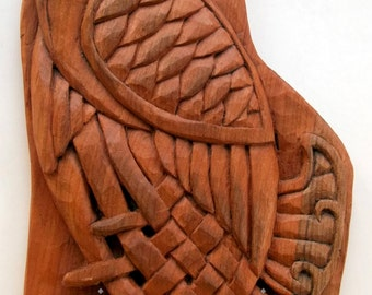 Celtic Eagle Wood carving, Celtic Woodcarving Handmade, 9,8 x 5,9 in.