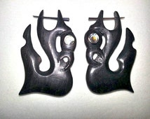Black Sono WOOD Pick Earrings with Abalone inlay Design No Idea Stirrup FAKE Gauge Organic Body Jewelry PAIR 16g Earrings