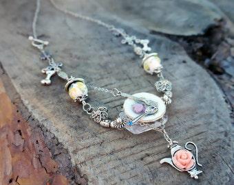 SALE! Kettle rose Necklace pendant Cup of Coffee Milk cups miniature porcelain miniature saucers, spoon Tea pot Breakfast necklace chain