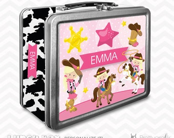 SALE Cowgirl Lunch box, personalized lunch box, chalkboard inside for notes, custom name lunch box, Metal lunch box - LB102
