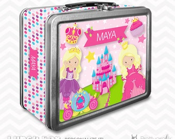 SALE Princess Lunch box, personalized lunch box, chalkboard inside for notes, custom name lunch box, Metal lunch box - LB110