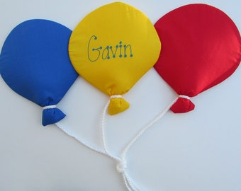 Personalized Fabric Mini Triple Balloon Grouping Wall Hanging