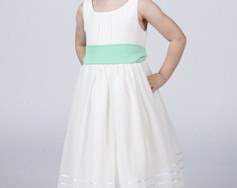 White Flower Girl Dress with Mint Green Sash To Match Your Bridesmaids and Groomsmen Available in 37 colours by Matchimony