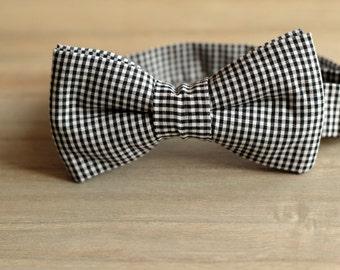 Bow 30. Cuadritos de Vichy negros/ Black Vichy s squares/ Cadres de Vichy noir. Handmade bowtie made with high quality printed fabric.